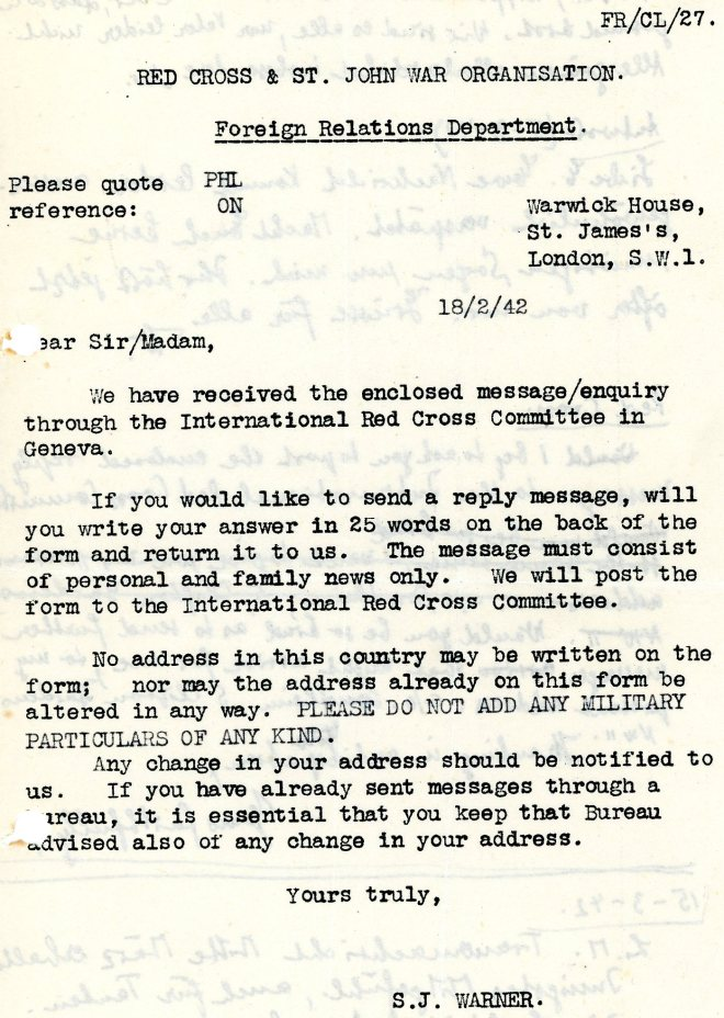Red Cross messages - 18th February 1942, page one