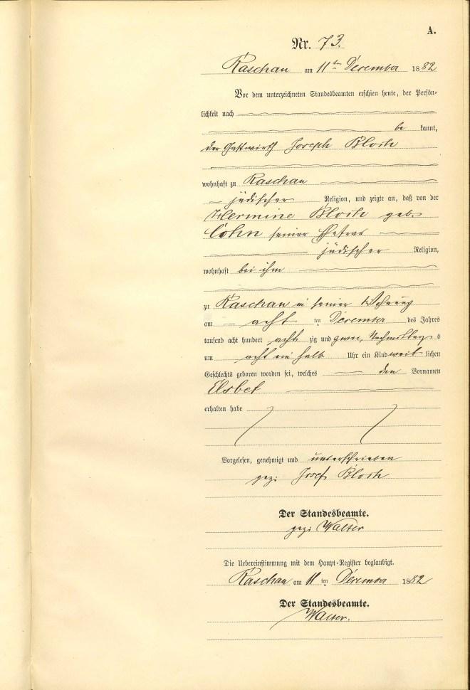 Else Bloch birth certificate