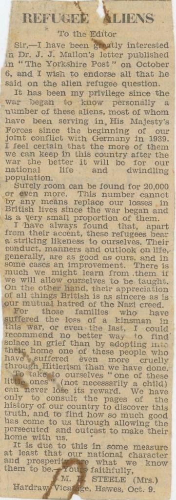 Refugee aliens newspaper article