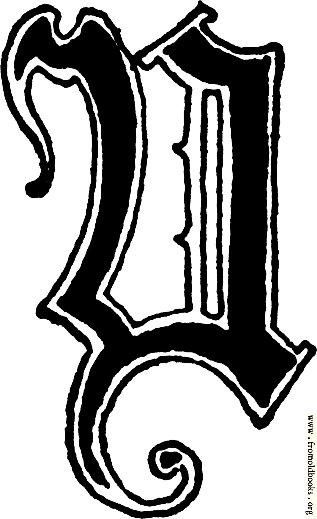 Calligraphic Letter Y In 15th Century Gothic Style