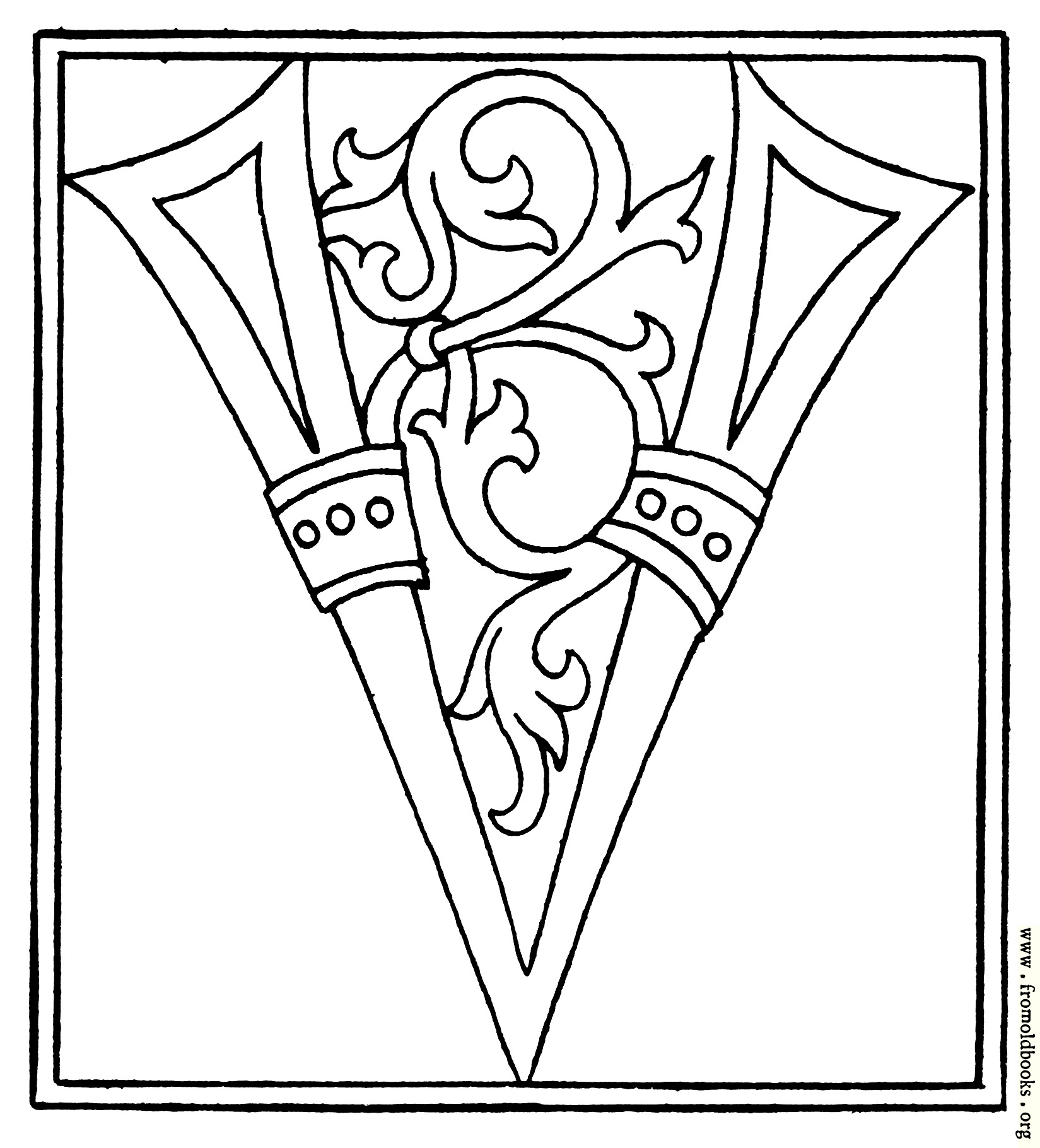 Clipart Initial Letter V From Late 15th Century Printed Book