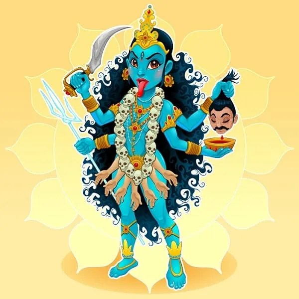 Kali goddess representation of eastern god, vector cartoon illustration.
