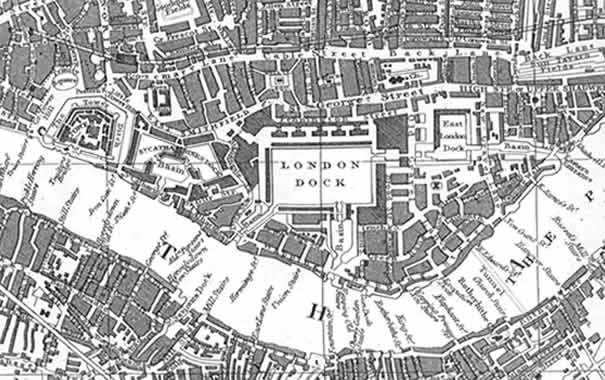 Antiguo mapa de Londres donde se ve Wapping