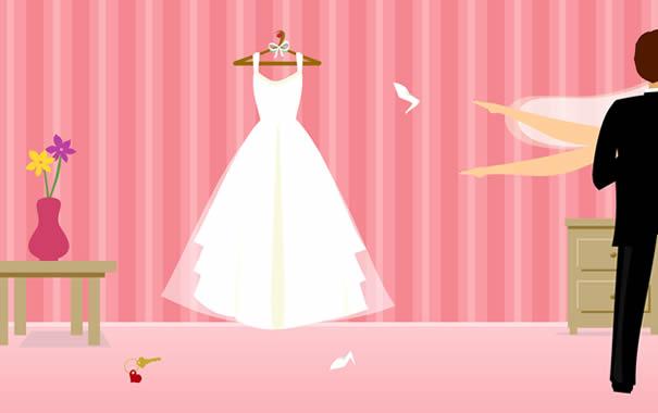 Recién casados celebrando la luna de miel