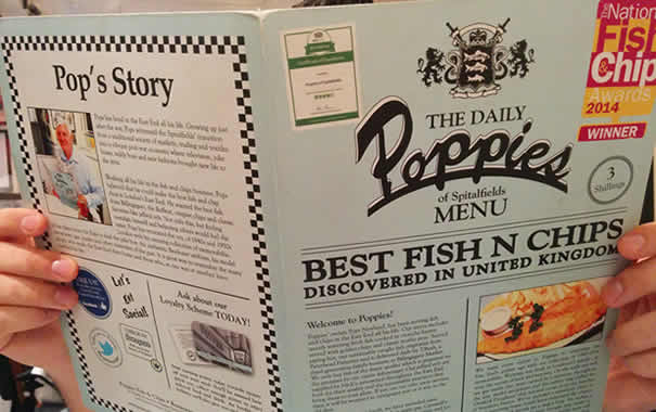 Poppies fish & chip menu