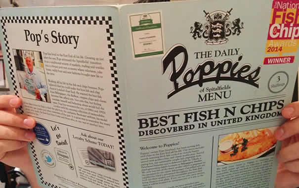 Poppies fish & chip menu