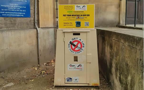 Weapons bin in London
