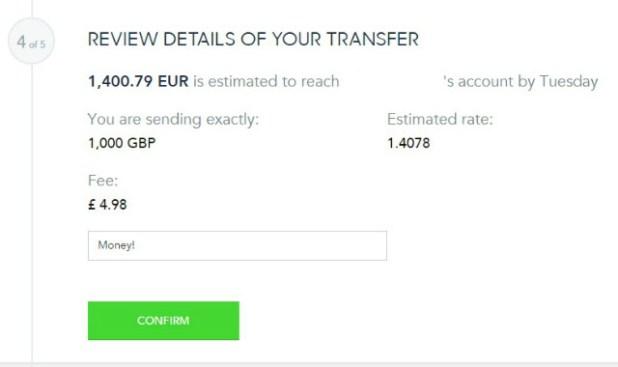 TransferWise - Paso 4