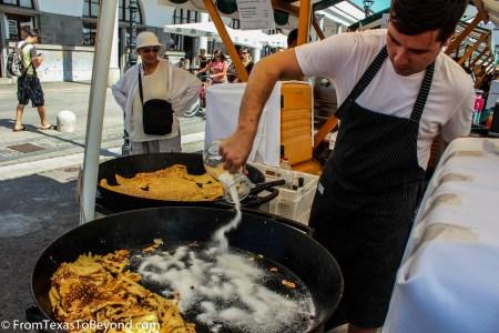Riverside Market - Making the Pancake-Like Dessert Carski Praženec S Sadno Čežano