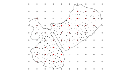 Illustration of the knot selection procedure. The large circles are the locations of the sparse regular grid of points over the bounding box of the data. The filled red circles are those grid points that are found inside the lake boundary and thus chosen as knots for the soap-film smoother. The small black dots are the locations of the observed depth data.