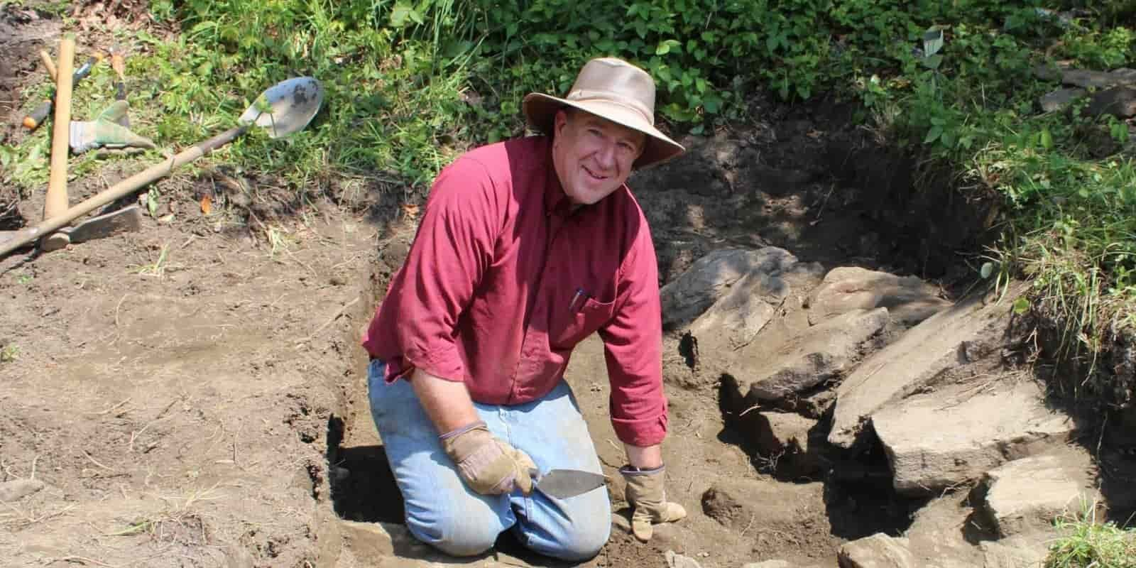 Mark Staker participating in an archaeological dig