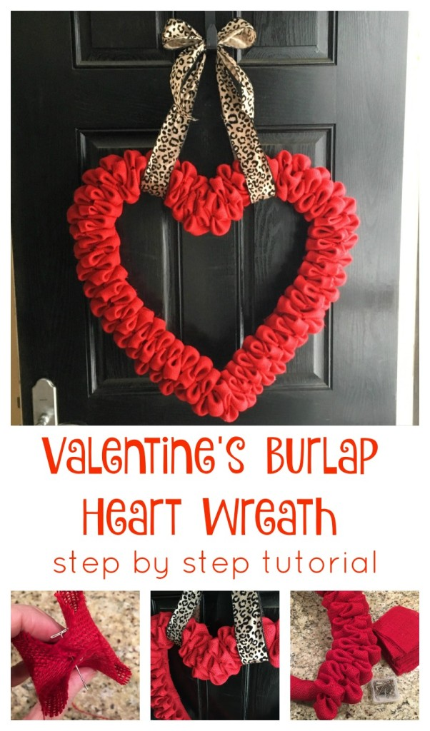 Valentines Day Heart Wreath Burlap tutorial From the Family With Love Pinterest 2