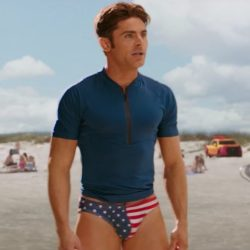 Zac Efron's USA flag swimming pants in Baywatch (2017)