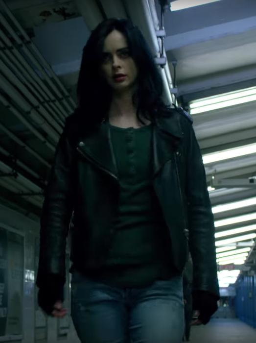 Black leather jacket Krysten Ritter in Jessica Jones