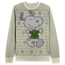 Peanuts Snoopy snowflake pattern adult cream Ugly Christmas Sweater