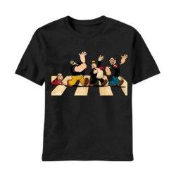 Popeye the Sailor Man Single File Line Adult Black T-shirt