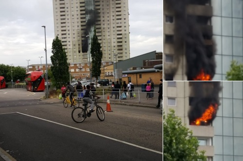 Fire hits tower block