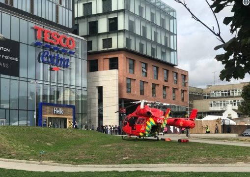 Woman stabbed in Woolwich this morning – air ambulance lands by Tesco