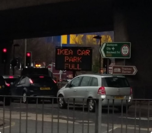 Ikea car park fills up = traffic problems in Greenwich