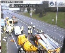 Crash involving multiple vehicles blocks A2 in Blackheath