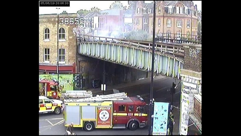 Fire hits rail bridge in Herne Hill