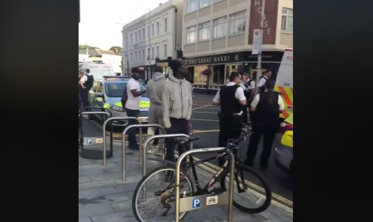 Police seen en masse in Woolwich town centre