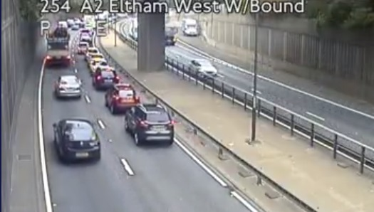 Crash on A2 in Kidbrooke blocking traffic towards Blackwall Tunnel