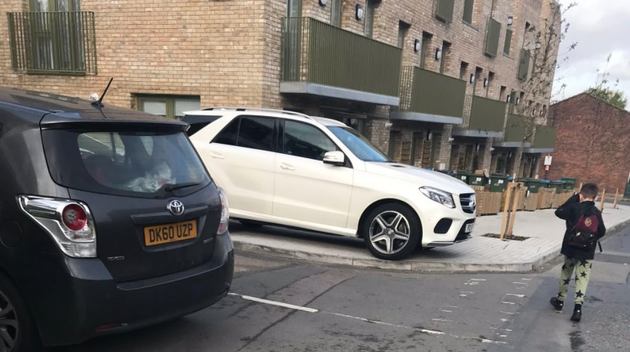 Pavement parking continually seen outside flagship new Woolwich council homes
