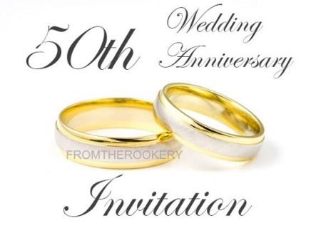 Golden Wedding Anniversary Invitations Free Vector