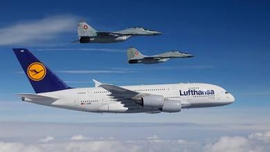Photo of A380 Lufthansa scortato dai MiG-29 bulgari