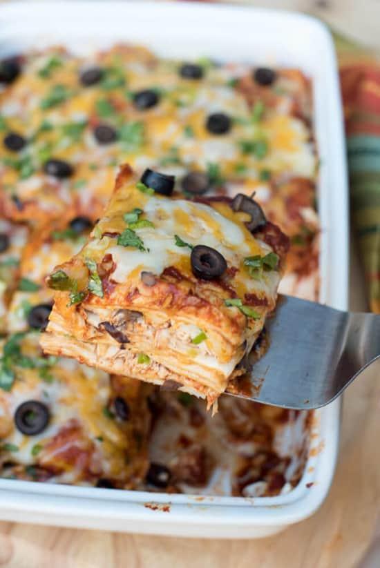 Chicken Enchilada Casserole | From Valerie's Kitchen
