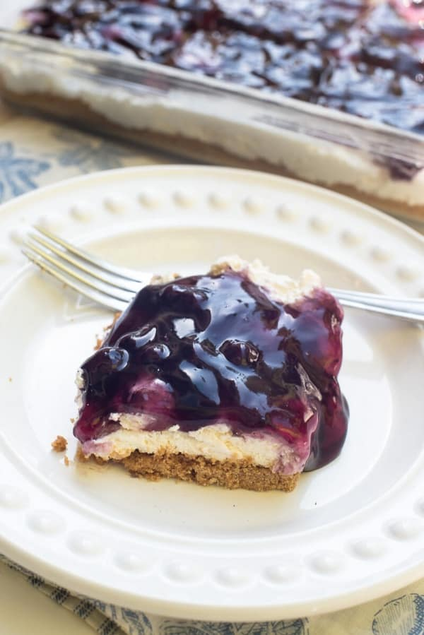 This Easy Blueberry Cheesecake Dessert With A Light And Creamy No Bake Layer Is