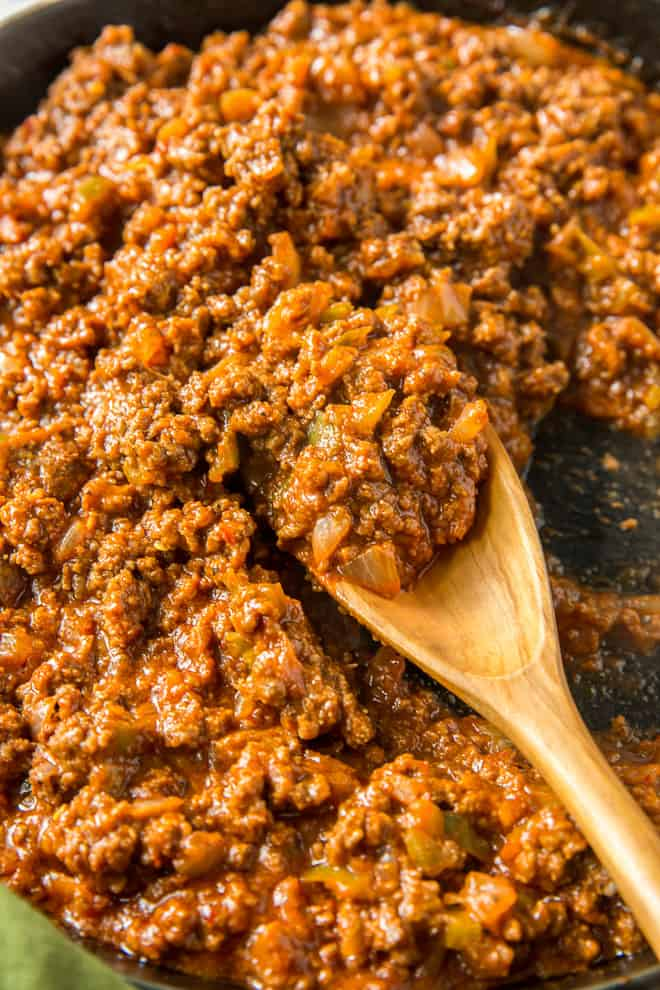 A close up of the finished sloppy joe mixture in the skillet
