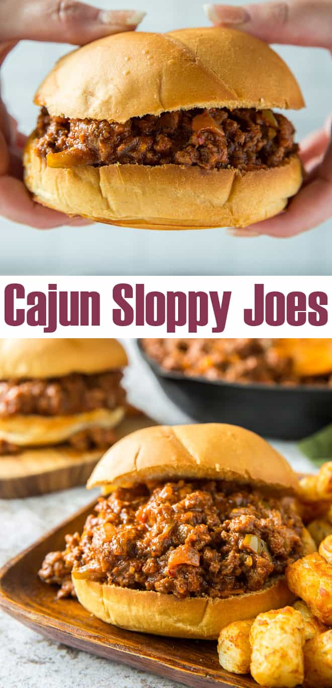 A two image vertical collage of Cajun Sloppy Joes