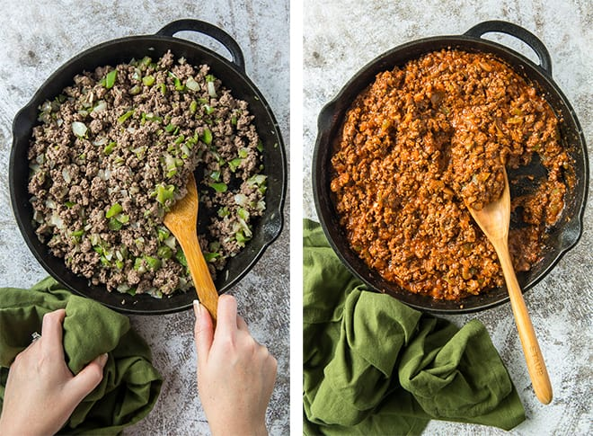 Side by by side process photos of cooking the sloppy joe mixture in a skillet.