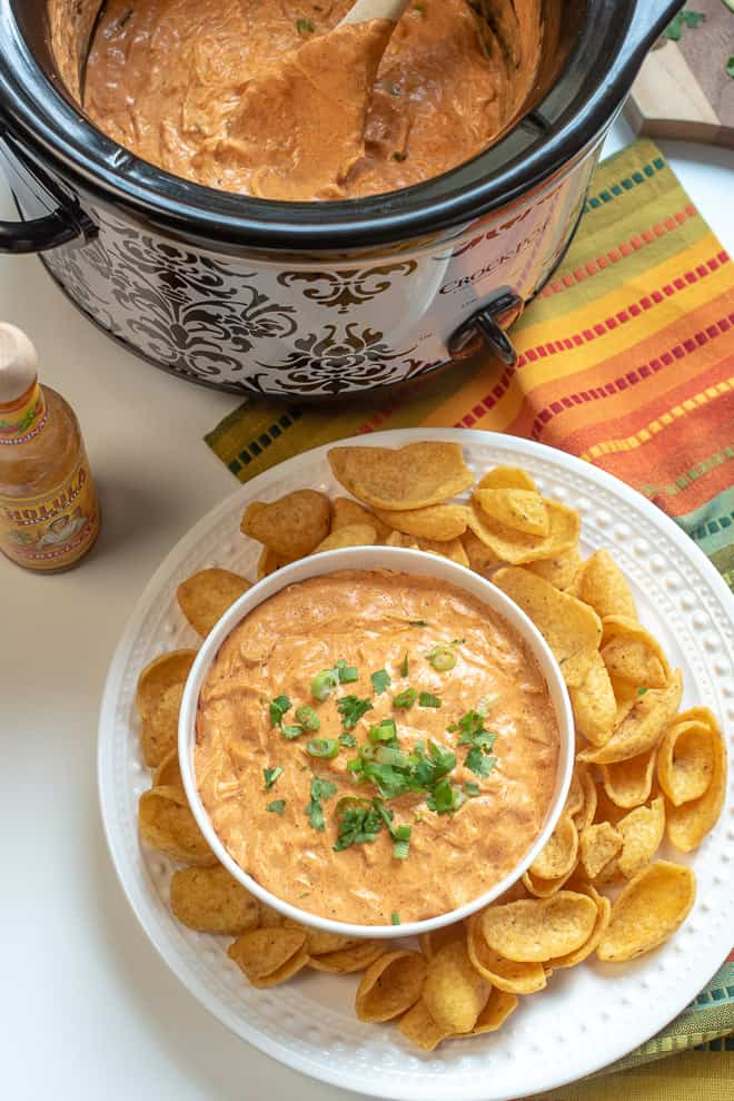 Slow Cooker Chicken Enchilada Dip shot from over the top in a Crock Pot and in a white serving bowl garnished with green onion and cilantro.