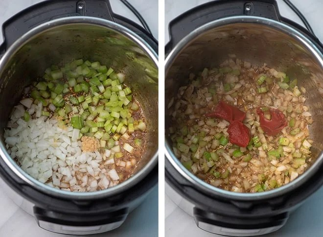 Two in process images showing diced onion, chopped celery, and garlic sauteing in the Instant Pot. Tomato Paste is added.