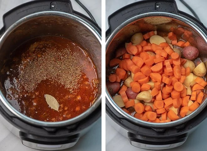 Two in process images showing the beef broth, red wine, Worcestershire sauce, and bay leaf added to the Instant Pot. The browned beef, potatoes, and carrots are added on top.