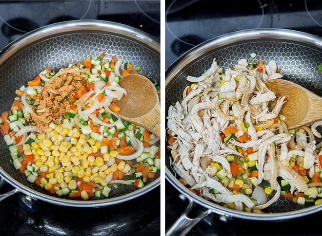 Two process photos showing the chicken and veggie mixture being sauteed in a skillet.