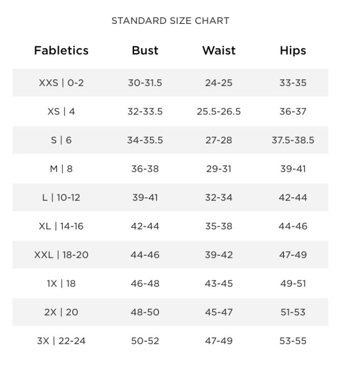 Fabletics Size Chart