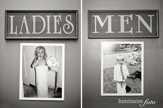 Wedding Decor Restroom Signs Kid Photos Bride Groom