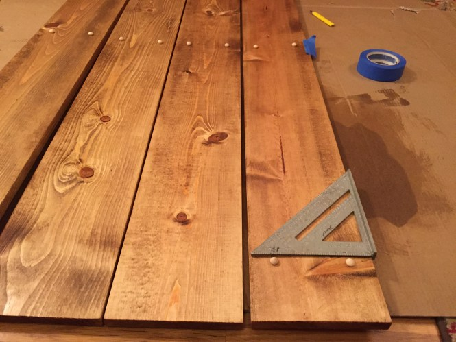 DIY Dark Walnut Stain Pine Headboard