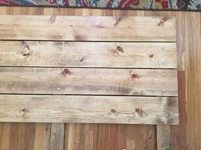 DIY dark walnut stained pine wood headboard