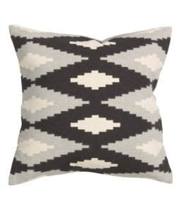 H&M gray, black, cream aztec diamond throw pillow cover