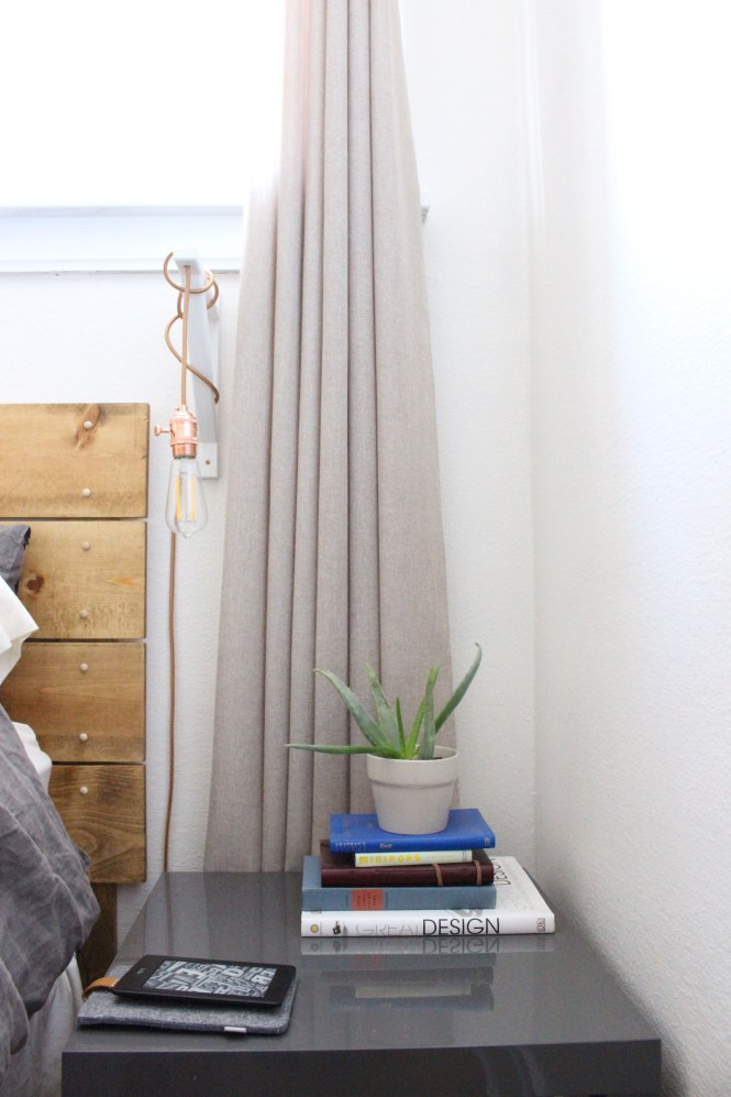 Simple bedside table, gray Ikea lack, rose gold DIY pendant light
