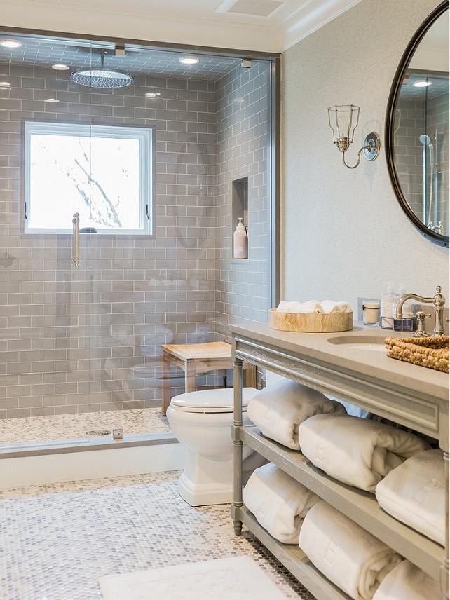 Home Bunch bathroom, gray subway tile shower, hex floor tile, gray vanity