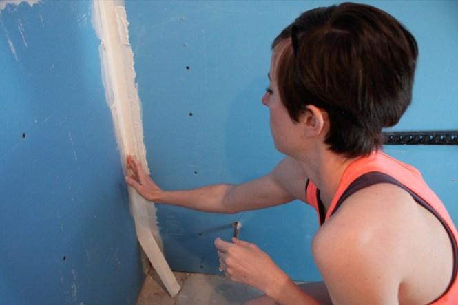 Kelly taping corner seam drywall