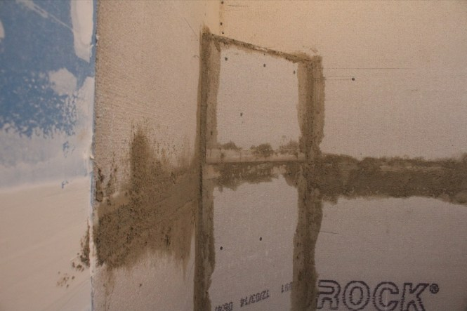 Mortar patch cement board shower walls