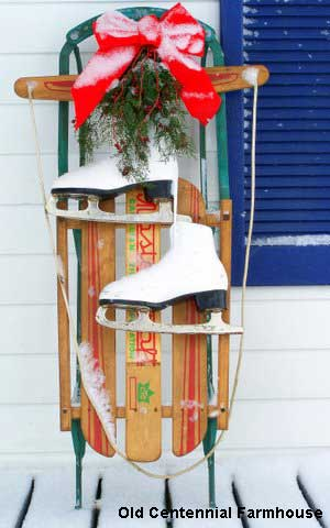 Vintage Ice Skates Tied With Pretty Christmas Ribbons Atta Says Front Porch