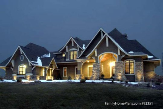 Craftsman Style Home Plans   Craftsman Style House Plans   Bungalow     Craftsman home at night Family Home Plan   92351